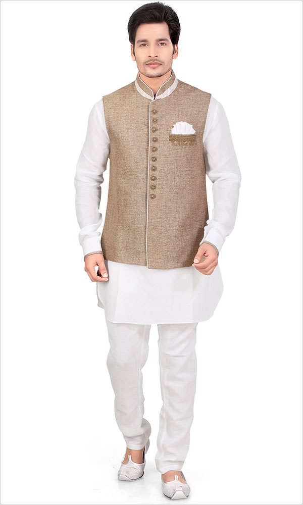 white kurta pajama design