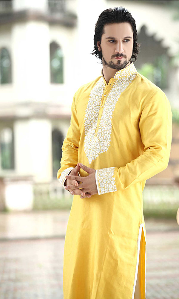 yellow kurta pajama design