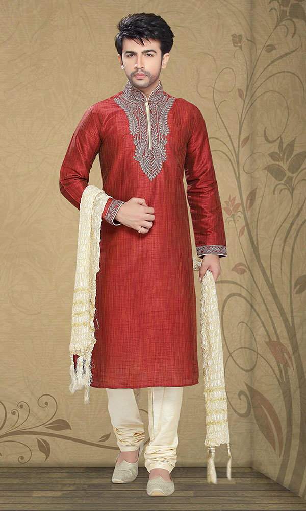 red kurta pajama for party