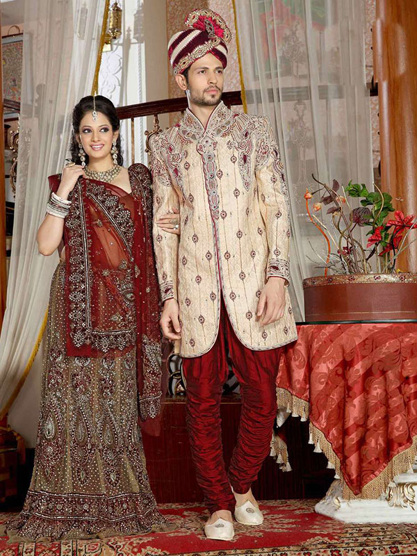 red color sherwani design