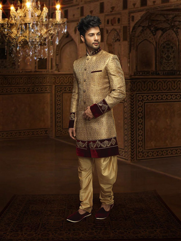 golden sherwani design