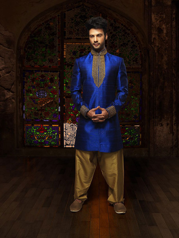 blue sherwani design