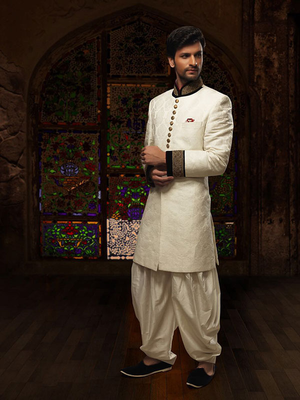 white sherwani design