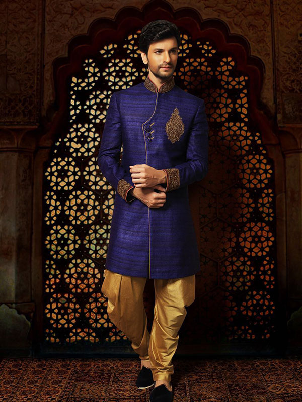 blue colour sherwani