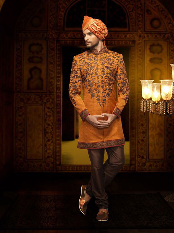 orange kurta pajama design