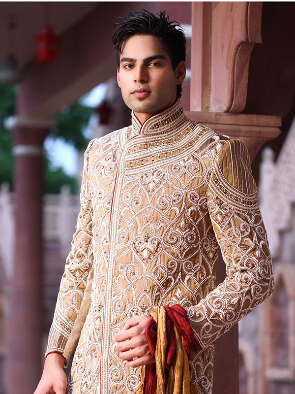 cream sherwani design