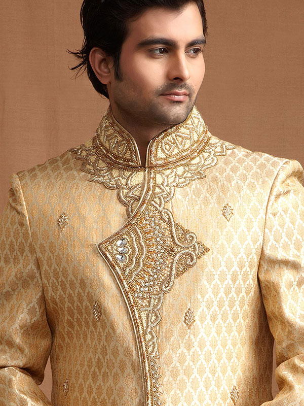golden cream sherwani design