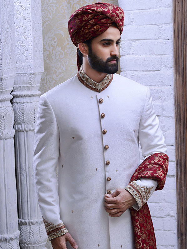 blood red rajasthani sherwani design