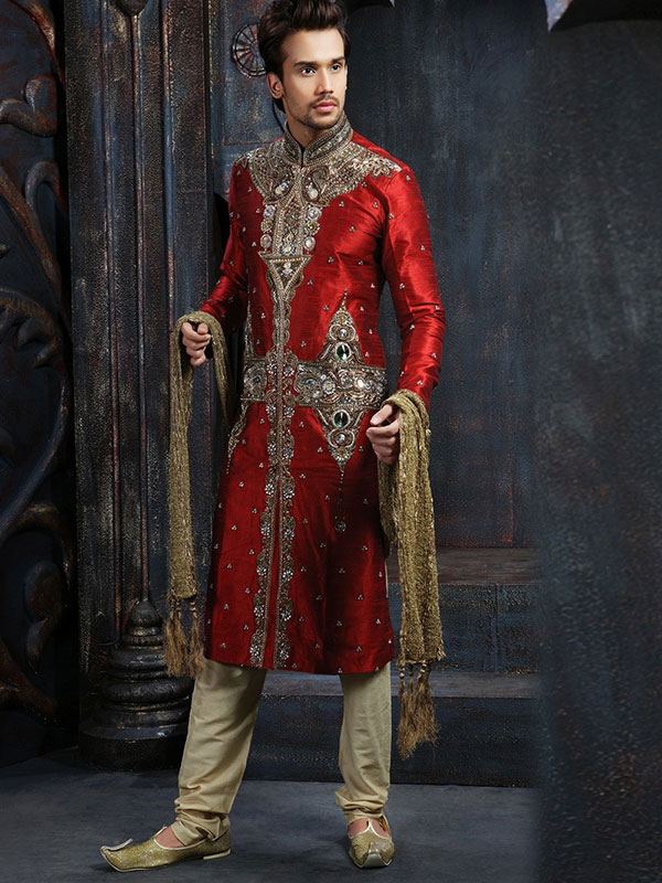 mehroon sherwani design for men